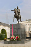 Bertel Thorvaldsen's equestrian statue (copy of destroyed original) of Prince Jozef Poniatowski, in front of the Presidential Pala Stock Photo