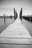 The berth. Small berth for yachts and boats on the Great Lakes, Black and White Stock Photos