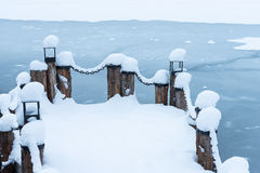 Berth with a chain in the snow Stock Photography