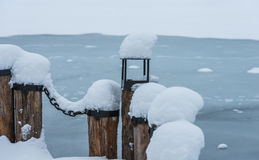 Berth with a chain in the snow Royalty Free Stock Photography