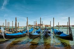 Gondolas near Saint Mark`s Square in Venice, Italy royalty free stock images