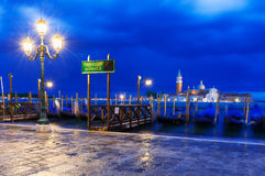 Berth of gondolas on San Marco square in Venice Royalty Free Stock Images