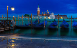 Berth of gondolas on San Marco square in Venice Royalty Free Stock Image