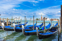 Berth of gondolas on San Marco square in Venice Royalty Free Stock Photos