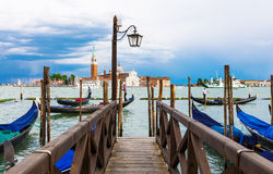 Berth of gondolas on San Marco square in Venice Stock Photos