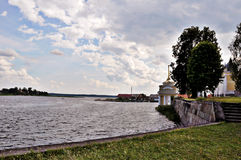 the berth on the lake. View of the berth Nilov monastery Royalty Free Stock Photography