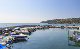 Berth in the Mediterranean resort of Faliraki. Rhodes. Greece Stock Photo