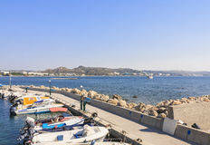 Berth in the Mediterranean resort of Faliraki. Rhodes.Greece Stock Photography