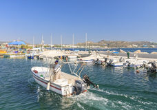 Berth in the Mediterranean resort of Faliraki. Rhodes Island Stock Images