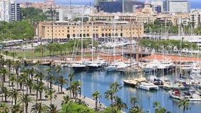Berth Moll DE La Fusta, Museum van de geschiedenis van Catalonië in een Haven Vell DE Barcelona stock footage