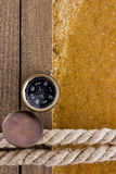 Berth rope on a wooden background Stock Image