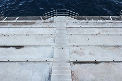 Berth with stairs going down to water Royalty Free Stock Photography
