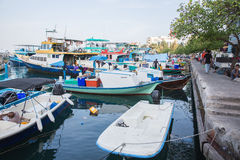 Berth with trading boats in Male Royalty Free Stock Photo