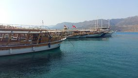 Berth with yachts in the Aegean Sea in Turkey Stock Images