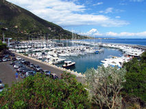 Berth with yachts in Italy. View from the hill on a small dock with yachts and boats in the vicinity of the town Allasio in Italy stock image