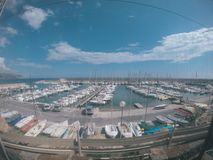Berth with yachts in the south of France stock images