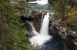 Bertha Falls in Banff Johnston Canyon Stock Photos
