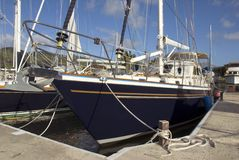 Berthed Sailboat Stock Photo