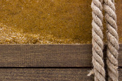 Berthing rope on a wooden background Stock Photography