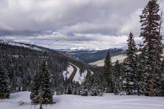 Berthoud Pass, Colorado. A cloudy view of Berthoud Pass, towards Winter Park, Colorado Royalty Free Stock Photography