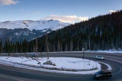 Berthoud Pass, Colorado. Traffic driving up Berthoud Pass, on the way to Winter Park, Colorado Stock Image