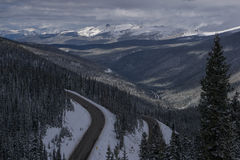 Berthoud Pass. Looking down the north side of Berthoud Pass, Colorado.  This road leads down the valley to Winter Park Royalty Free Stock Images