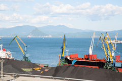 Berths with coal at the port of Nakhodka Stock Images