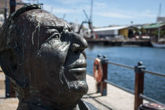 Bertie Reed Bust at V&A Waterfront, Cape Town. Close up profile view of Bertie Reed Bust at V&A Waterfront, Cape Town Stock Photography