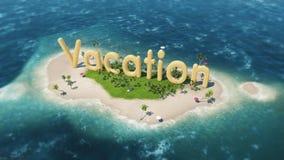 übertragen Sie Wortferien auf tropischer Paradiesinsel mit Palmen Zelte einer Sonne Segelboot im Ozean Stockfotografie