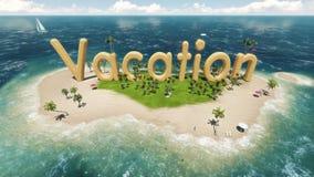 übertragen Sie Wortferien auf tropischer Paradiesinsel mit Palmen Zelte einer Sonne Segelboot im Ozean Stockfotos