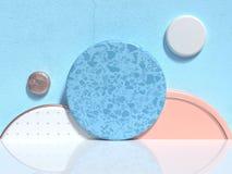 ?bertragen wei?e Bodengruppe der blauen Wand des weichen Rosas/der orange wei?en geometrischen Formzusammenfassungsszene minimale lizenzfreie abbildung