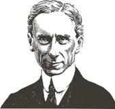 Bertrand Russell-Linie Kunstportr stock abbildung