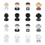 Beruf, Berufung, Bildung und andere Netzikone in der Karikaturart , Kellner, Manager, Lehrer, Ikonen in der Satzsammlung stock abbildung