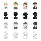 Beruf, Berufung, Hobby und andere Netzikone in der Karikaturart Gruppierung, Kleidung, Gewebe, Ikonen in der Satzsammlung lizenzfreie abbildung