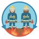 Beruf von Feuerwehrmännern auf dem Feuerschutz Stockfoto
