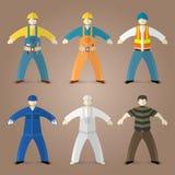 Berufe eingestellt von den Arbeitskräften und von den Erbauern Stockfotos