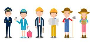 Berufe für Leute, Satz nette Berufe für die Person lokalisiert auf weißem Hintergrund, Pilot, Stewardess, Technik, Landwirt vektor abbildung