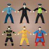 Berufe stellten vom Polizisten, vom Feuerwehrmann und vom Supermann ein Lizenzfreie Stockbilder