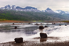 Berufjordur海湾, Djupivogur冰岛 库存照片