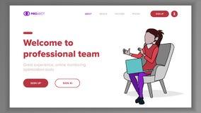 Berufs-Team Landing Page Concept Vector zeile Geschäftsprozesse Büro-Webseite Erzielen Sie das Ziel kommerziell vektor abbildung