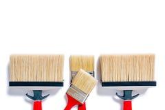 Berufsanstreicher, Arbeitswerkzeuge auf einem weißen Hintergrund lizenzfreies stockbild