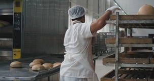 Berufsbäckereiarbeitskräfte entluden das gekochte Brot vom Ofen und Last zu den Regalen sie schnell arbeitend und sind alle stock video