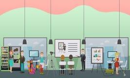 Berufsbüroreinigung hält flache Illustration des Vektors instand Lizenzfreie Stockbilder