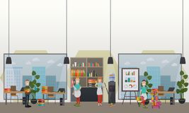 Berufsbüroreinigung hält flache Illustration des Vektors instand Lizenzfreies Stockbild