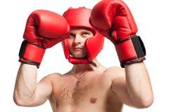 Berufsboxerposition getrennt auf Weiß Stockbild