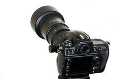 Berufsdigitalkamera lokalisiert auf weißem Hintergrund Stockfotografie