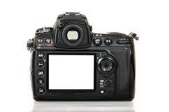 Berufsdigitalkamera mit leerem Bildschirm auf weißem Hintergrund Lizenzfreie Stockfotos