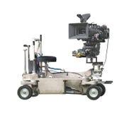 Berufsfilmkamera und -transportwagen getrennt. Stockfotos