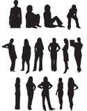 Berufsgeschäftsfrau-Schattenbilder Stockfotos