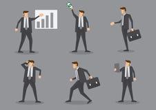 Berufsgeschäftsmann in der Aktion an der Arbeits-Vektor-Illustration Stockfotografie